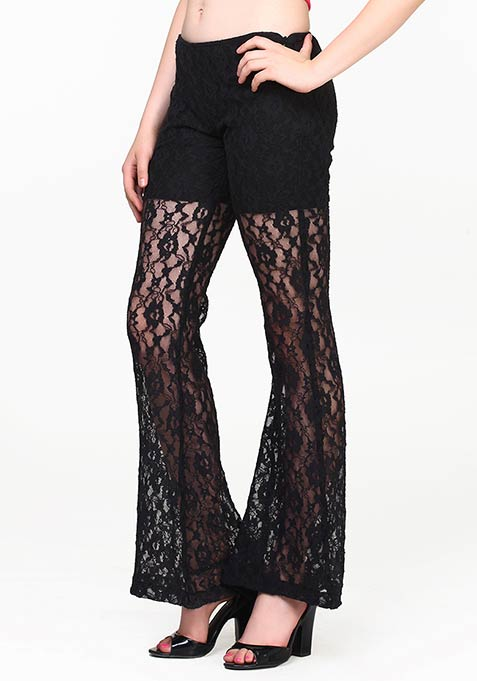 Retro Flare Lace Pants