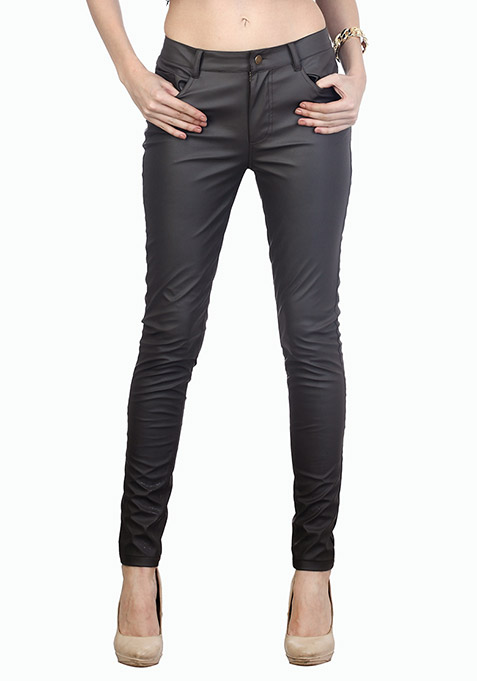 Edgy Grey Leather Trousers