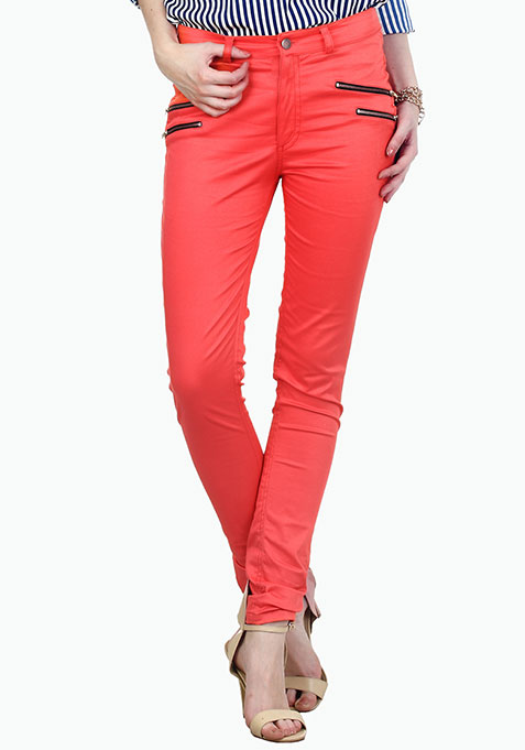 Modish Coral Zip Trousers