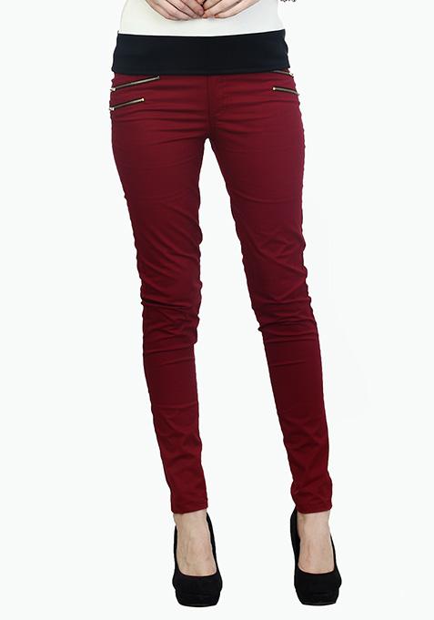 Modish Oxblood Zip Trousers