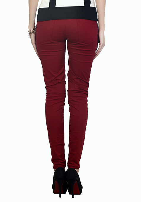 Modish Oxblood Zip Trousers