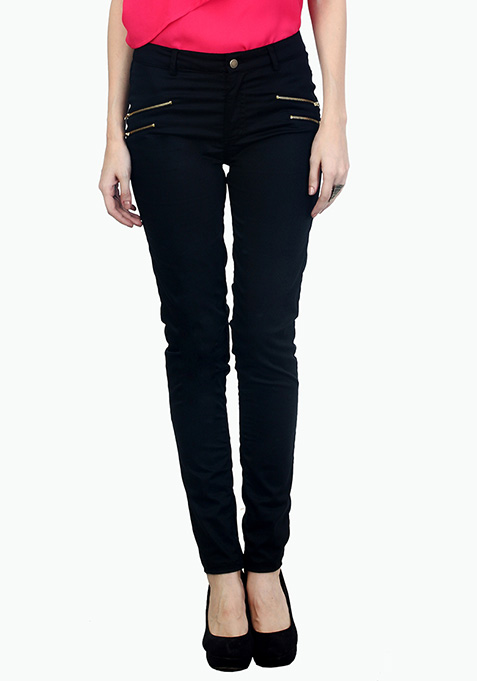Modish Black Zip Trousers
