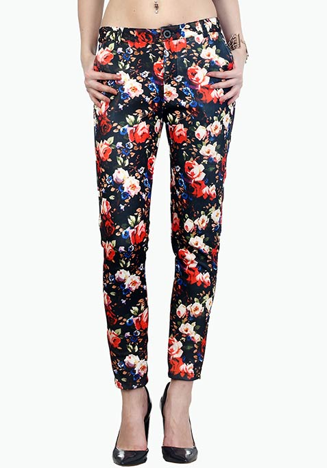 Floral Nights Scuba Trousers