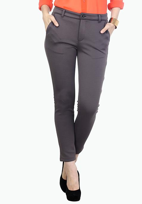 Uptown Grey Scuba Trousers