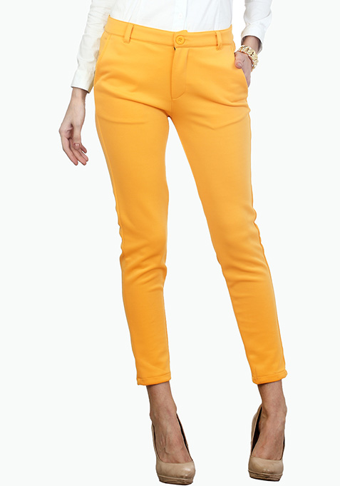 Sunshine Yellow Scuba Trousers