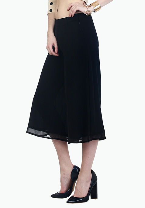 Sheer Chic Culottes - Black