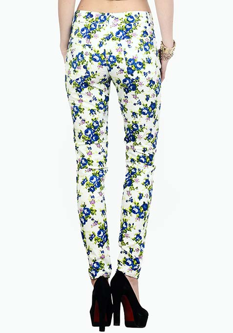 Summer Spell Floral Trousers - Blue