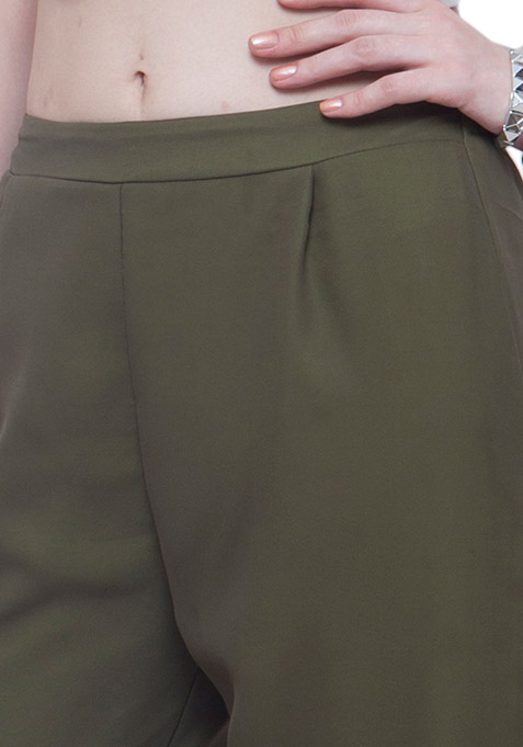 Army Green Georgette Palazzo