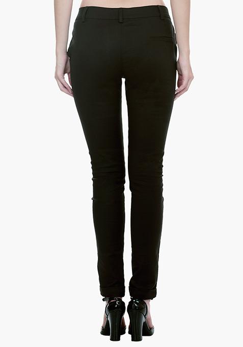 Peg Leg Trousers - Black