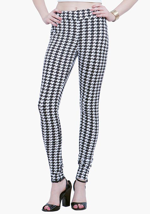 Jersey Leggings - Houndstooth