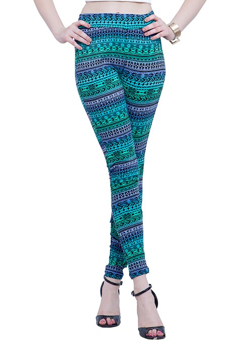 Jersey Leggings - Green Aztec
