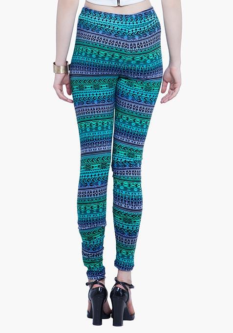 Jersey Leggings - Green Aztec