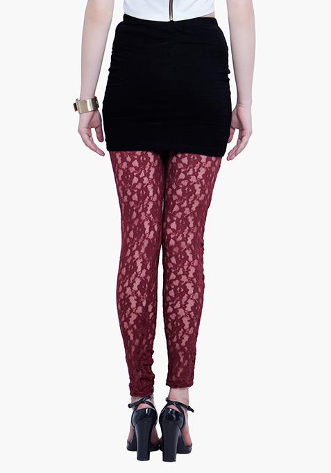 Lace Leggings - Oxblood