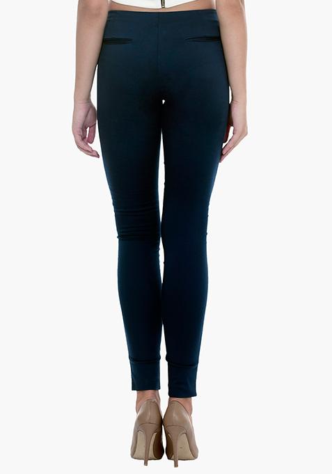 High Waist Skinny Trousers - Blue