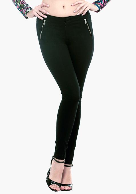 High Waist Skinny Trousers - Black