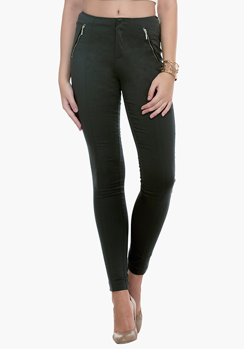 High Waist Skinny Trousers - Grey