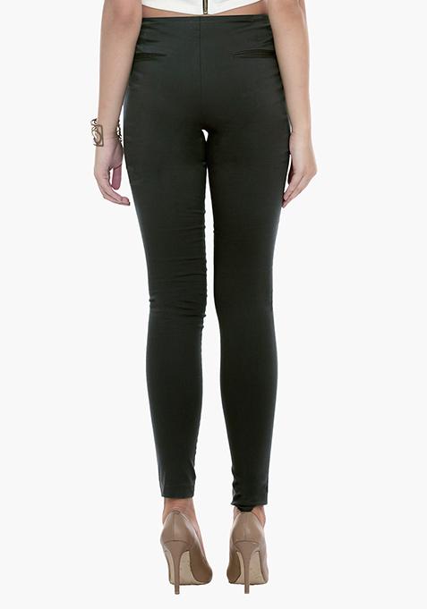 High Waist Skinny Trousers - Grey