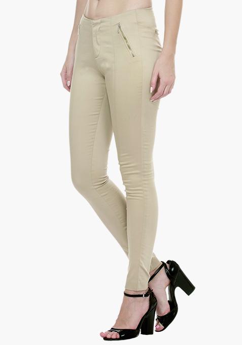 High Waist Skinny Trousers - Beige