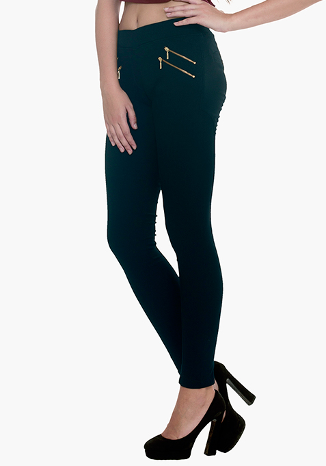Zipped Skinny Jeggings - Navy