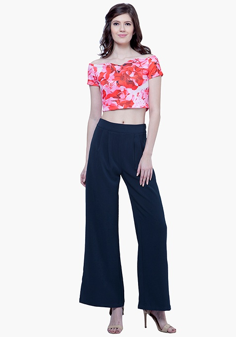 Tailored Palazzo Pants - Navy