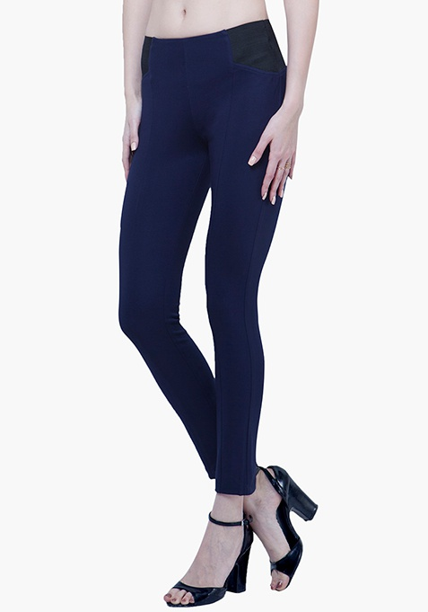Mid-Rise Skinny Treggings - Navy