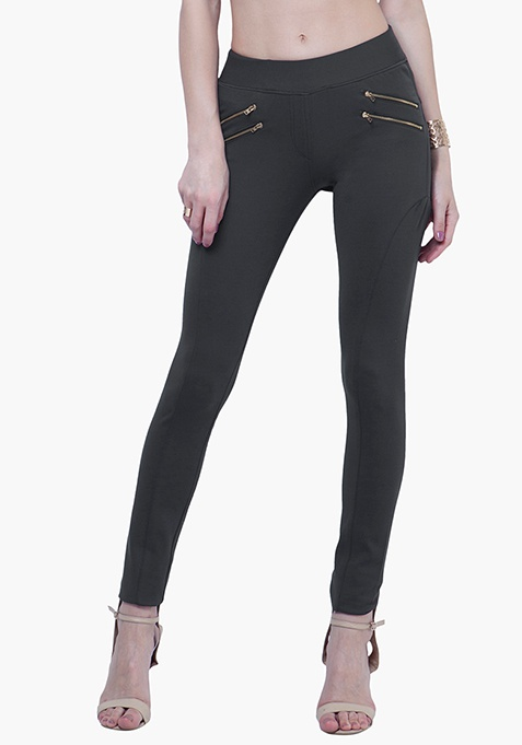 Zipped Skinny Treggings - Grey