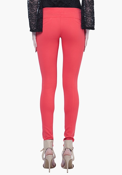 Zipped Skinny Treggings - Coral
