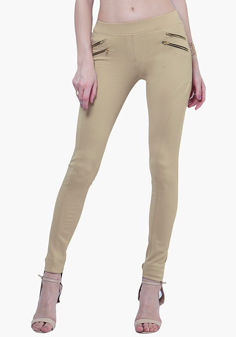 Zipped Skinny Treggings - Beige