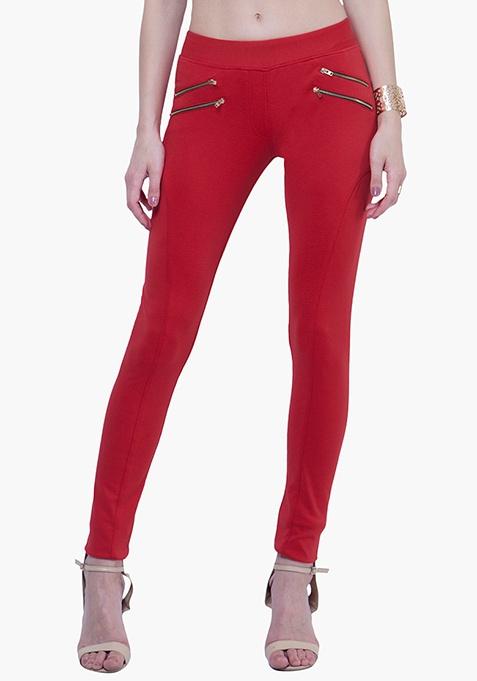 Zipped Skinny Treggings - Red