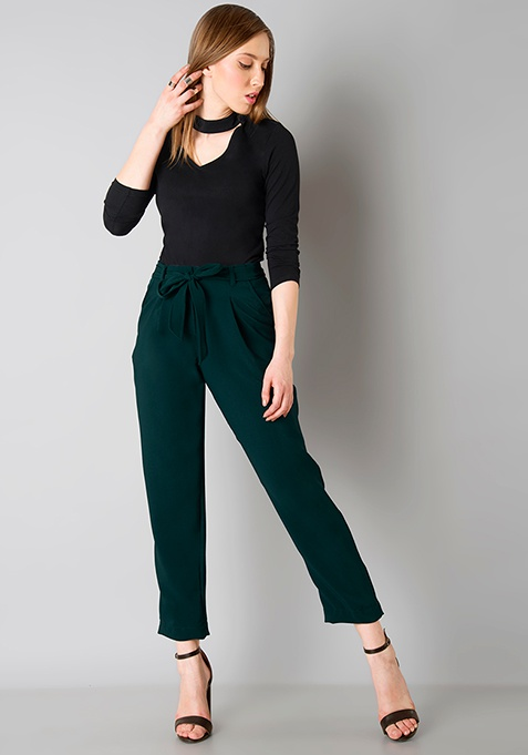 Dark Green Belted Trousers