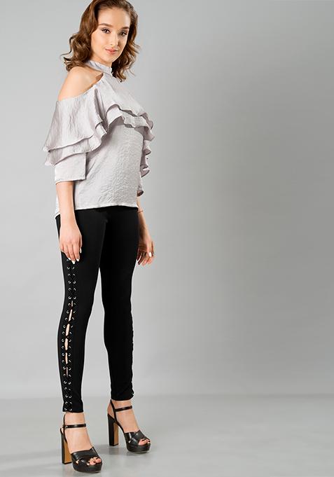 Black Lace-Up Jeggings