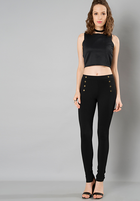Black Button Front Jeggings
