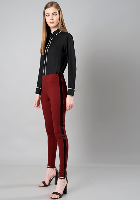 Leather Panel Jeggings - Maroon