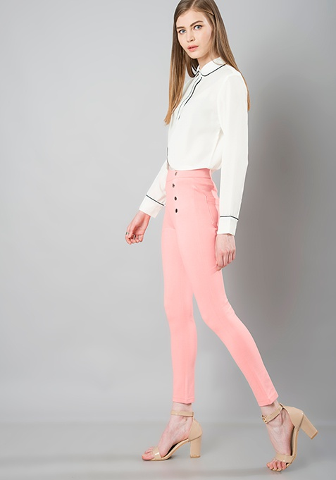 Button Front Jeggings - Pink