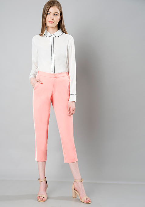 Side Panel Cropped Pants - Pink