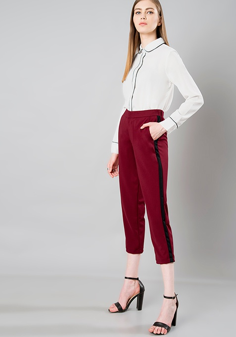 Side Panel Cropped Pants - Oxblood