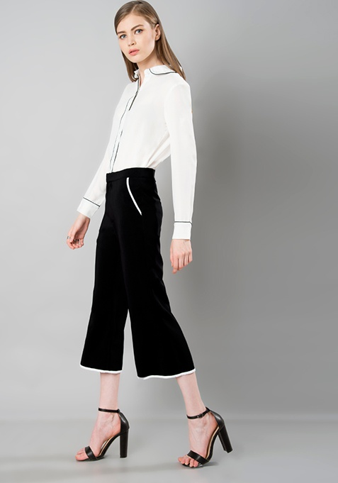 Cropped Culotte Trousers - Black