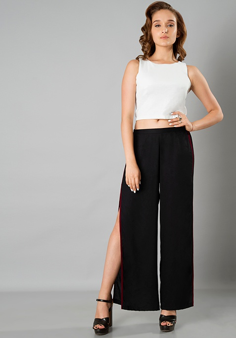 Side Slit Pants - Black