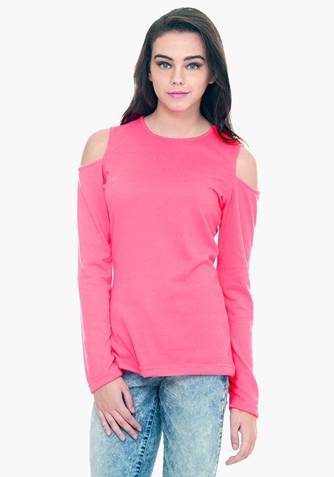 Cold Shoulder Sweater - Pink