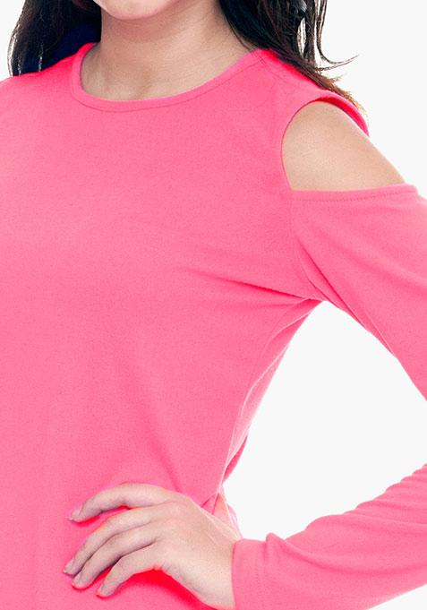 Cold Shoulder Sweater - Pink