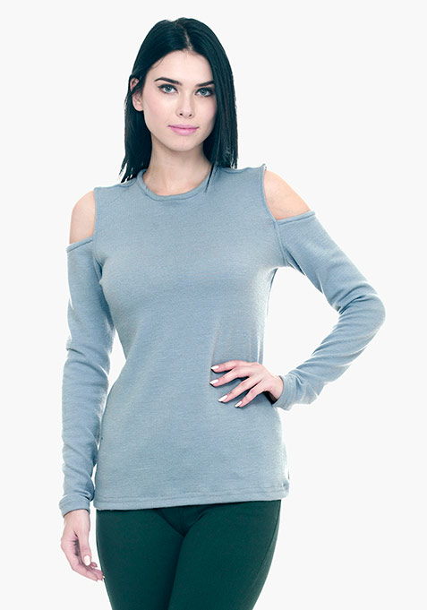 Cold Shoulder Sweater - Grey