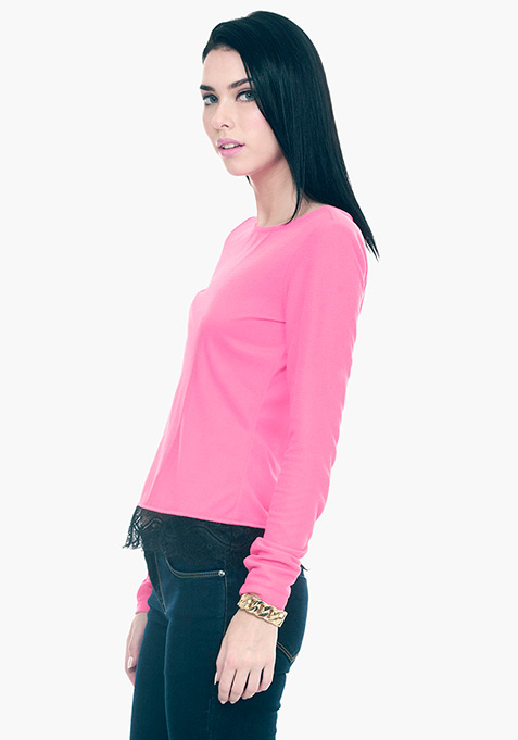 Lace Hem Sweater - Pink