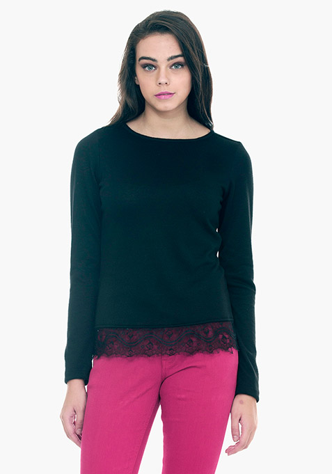 Lace Hem Sweater - Black