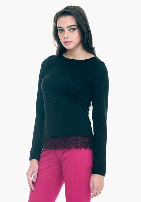 Lace Hem Sweater - Black