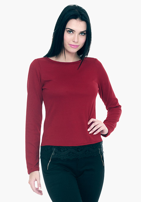 Lace Hem Sweater - Oxblood