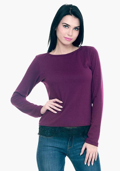 Lace Hem Sweater - Purple