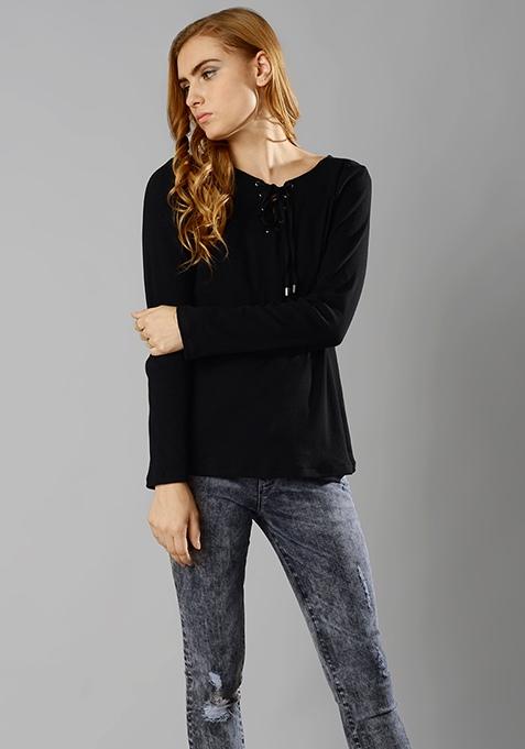 Tie-Up Sweater - Black