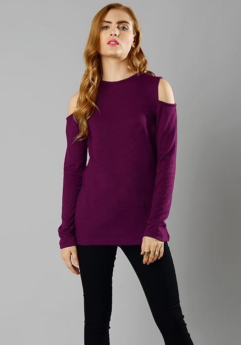 Cold Shoulder Sweater - Purple