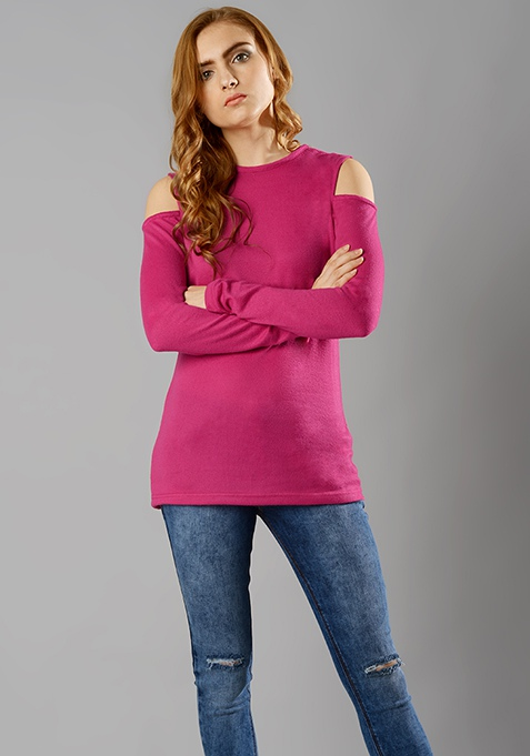 Cold Shoulder Sweater - Fuchsia