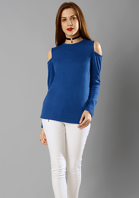 Cold Shoulder Sweater - Blue